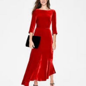 Boden Rebecca Velvet Maxi Dress Red 10 P Holidays